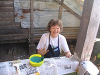 Ms. Suzanne painting with smiles
